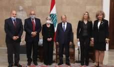 الرئيس عون يستقبل وفد الهيئة الوطنية لدعم مبادرة التعاون الإقليمي وقيام سوق اقتصادي يضم لبنان وسوريا والعراق والأردن
