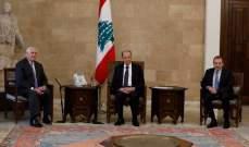 التقرير اليومي 15/2/2018: عون لتيليرسون: نرفض ادعاءات اسرائيل بملكية اجزاء من المنطقة الإقتصادية الخالصة في المياه اللبنانية
