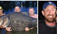 بعد 80 دقيقة... اصطياد أكبر سمكة في العالم بوزن 105 كيلوغرام!