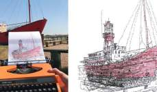 شاب يستخدم الآلة الكاتبة لصنع الرسومات!
