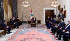 """الرئيس عون لوفد """"كاريتاس"""": همّنا الآن تحقيق الاكتفاء الغذائي للشعب"""