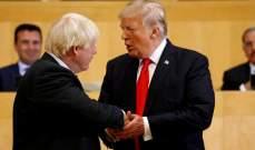 """جونسون وترامب يتطلعان إلى """"إتفاقية طموحة للتجارة الحرة"""" بين البلدين"""