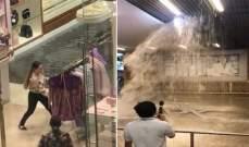 """الإمارات: تسرب مياه الأمطار إلى بعض المحال التجارية في """"دبي مول"""""""