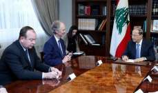 الرئيس عون لمبعوث أمين عام الأمم المتحدة: لم يعد للبنان القدرة على تحمّل تداعيات النزوح السوري