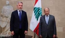 الرئيس عون عرض مع وزير الدفاع الإيطالي حاجات لبنان الكبيرة والضخمة بعد انفجار المرفأ