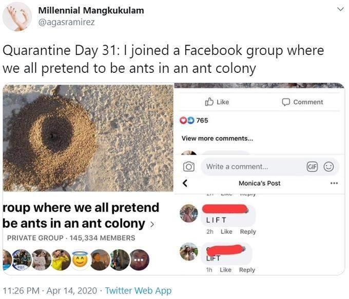 """بسبب كورونا... يتظاهرون بأنهم نمل على """"فيسبوك"""""""