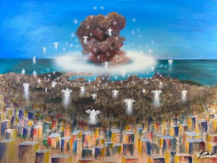 """""""الملائكة الصّاعدة"""".. لوحة لفاطمة ضيا تنزع الصورة الأليمة المأساوية لانفجار بيروت"""