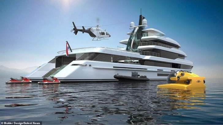 """بالصور: """"Crysta""""يخت فاخر بـ87 مليون دولار يأتي مع غواصة وطائرة هليكوبتر!"""