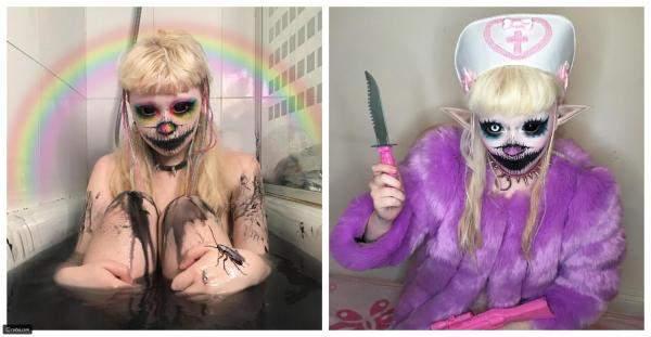 """بالصور: مراهقة تتحول إلى دمية يابانية مرعبة على""""إنستغرام"""""""