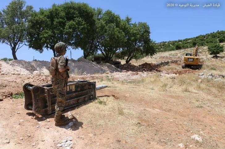 الجيش اللبناني يقفل معبر غير شرعي في منطقة الهرمل