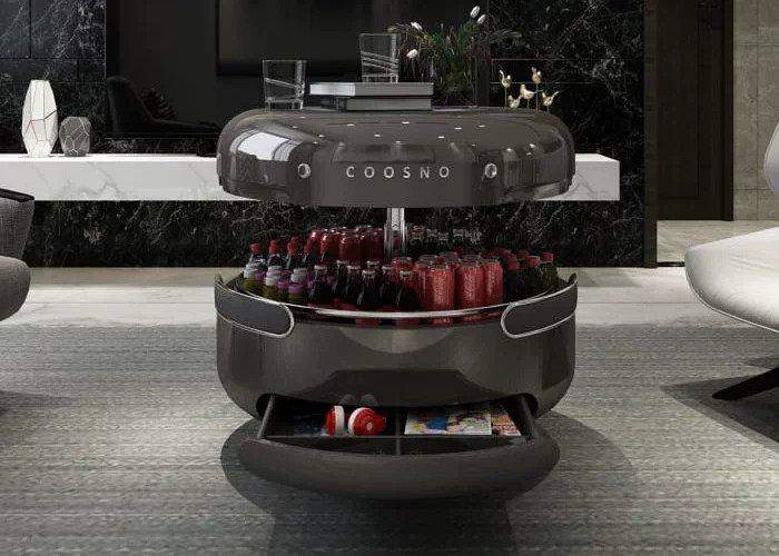 """Coosno""طاولة قهوة ذكية مجهزة بثلاجة ومكبرات صوت ""بلوتوث"""