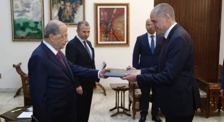 السفير الجديد للاتحاد الأوروبي رالف طراف يقدم أوراق اعتماده للرئيس عون