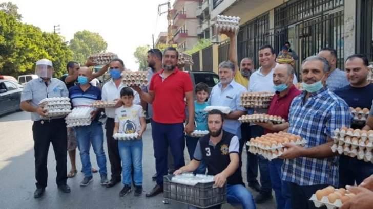 اعتصام لمزارعي ومربي ومنتجي الدجاج في العبدة احتجاجا على تسعير كرتونة البيض بـ 12 ألف ليرة