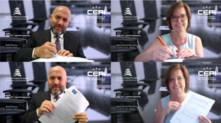 توقيع اتفاقية تعاون بين نقابة الوسطاء والاستشاريين العقاريين والجمعية الاوروبية للمهن العقارية