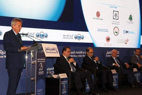 """سلامة خلال """"منتدى الإقتصاد العربي"""": نسب التضخم في لبنان هذا العام ستكون بين 4 و %5"""